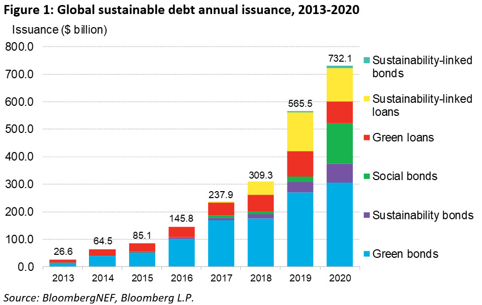 Global sustainable debt annual issuance 2013-2020